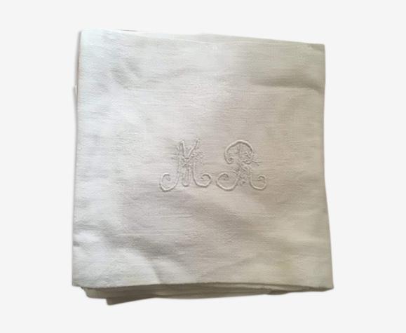 Set 12 serviettes en damas de coton au monogramme MR