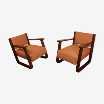 Paire de fauteuils vintage en chêne et cuir 1930