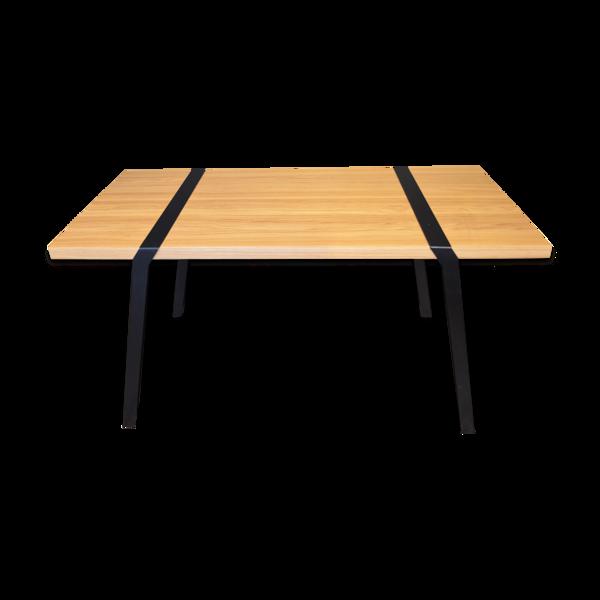 Table en chêne massif et métal PI01