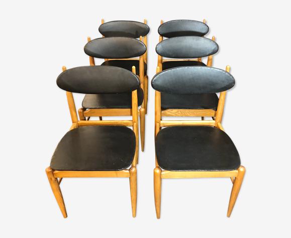 Set de 6 chaises scandinave en teck