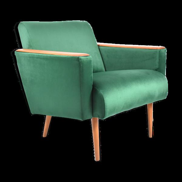 Selency Fauteuil en velours vintage, 1970, couleur verte