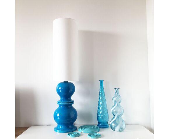 Lampe en céramique bleu 1960