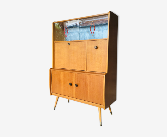Secretary compass feet - light oak veneer and formica - vintage 1960
