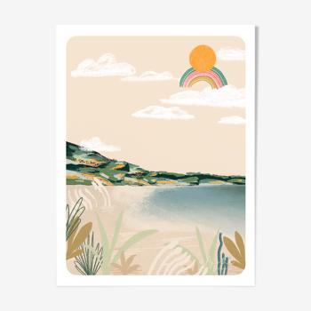 "Illustration ""la plage corse"" a4"