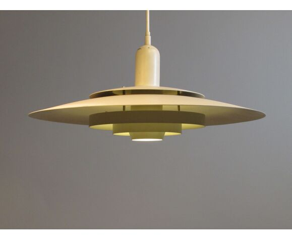 White Danish concentric ceiling light.