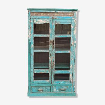 Armoire ancienne en bois vitrée 2 portes et 2 tiroirs