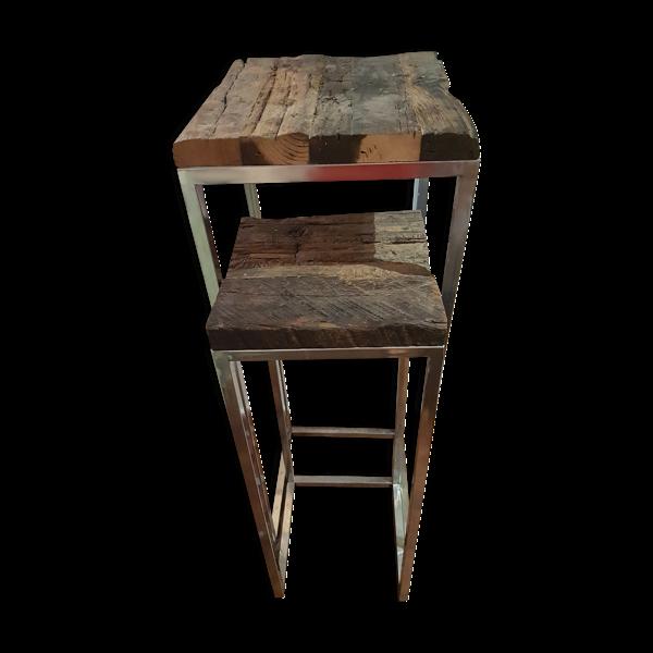 Selency Sellettes en bois brut et chrome