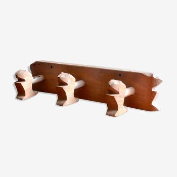 Marmotte porte manteau patère en bois vintage