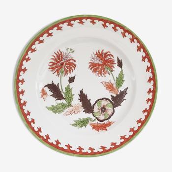 Assiette vintage porcelaine de paris fleur de tabac