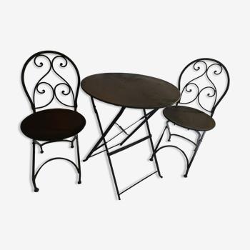 Lot de 2 chaises pliantes et table de bistrot