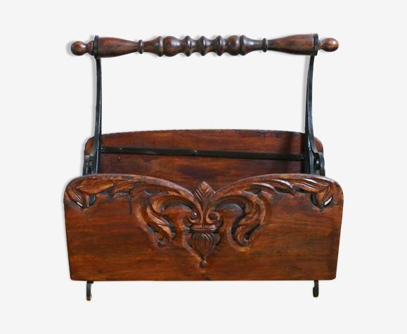 Porte revue ancien en bois chêne et métal
