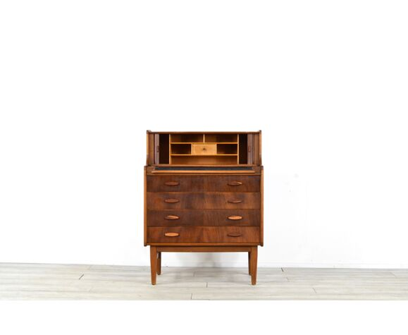 Midcentury teak and walnut desk bureau with tambour doors by welters of wycombe