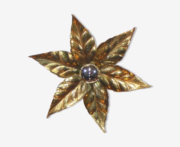 Applique fleur en laiton massif 1970