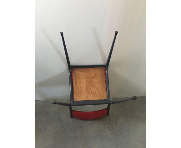 Chaises d'école Mullca 510 en simili cuir rouge