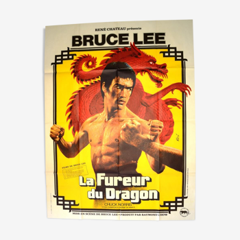 """Original movie poster """"The Fury of the Dragon"""" 1974 Bruce LEE, Chuck Norris..."""