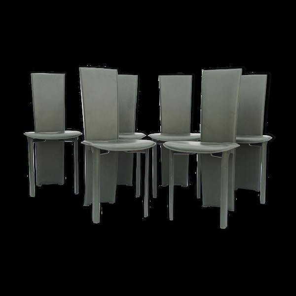 Selency Série de 8 chaises en skai gris