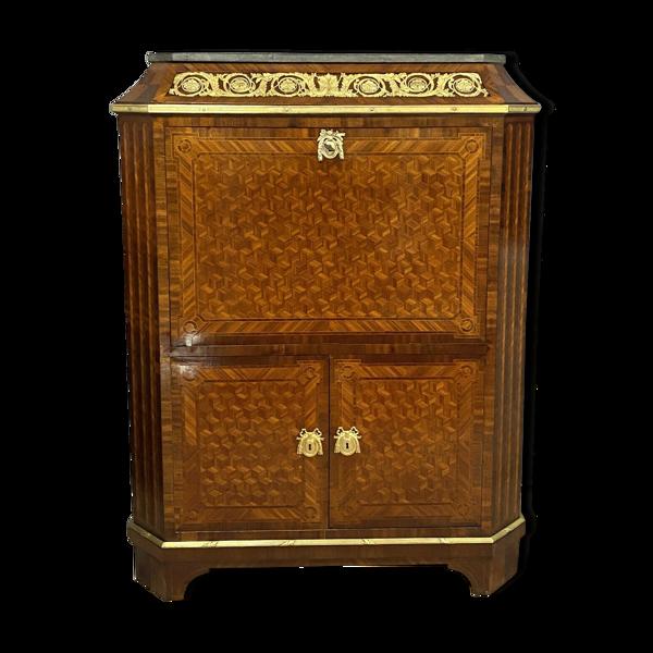 Secrétaire Pagode à abattant époque Louis XVI en marqueterie de cubes
