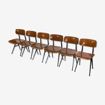 Ensemble de six chaises de Friso Kramer Result des années 60 Ahrend de Cirkel