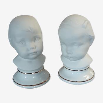 2 bustes fille et garçon - biscuit porcelaine vintage