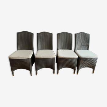 Lot de 4 chaises Lloyd Loom