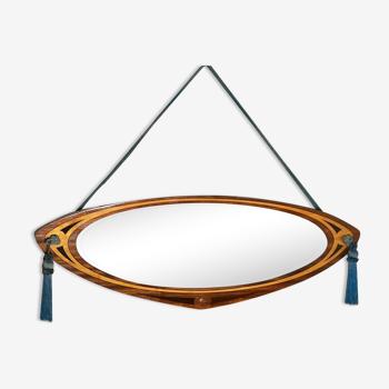 Miroir art déco en bois de miroirs p.m. modèles déposés 1920s 83x30cm