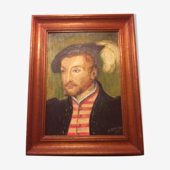 Tableau huile sur toile M. Brenon portrait homme + cadre bois vintage