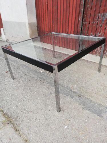 Table basse vintage chrome et cuir