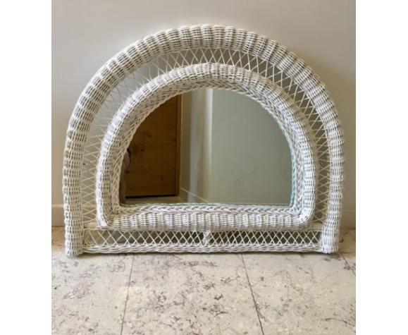 Miroir rotin vintage demi-lune blanc 76x77cm