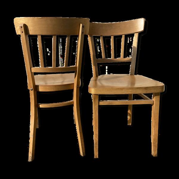Paire de chaises bistrot en hêtre clair