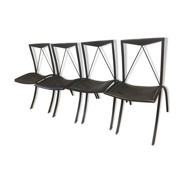 Set de 4 chaises Cattalan Italia métal cuir