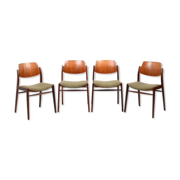Selency Lot de 4 chaises en teck 1950