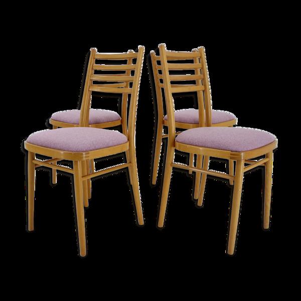 Ensemble de quatre chaises par Interier Praha, 1970, Tchécoslovaquie