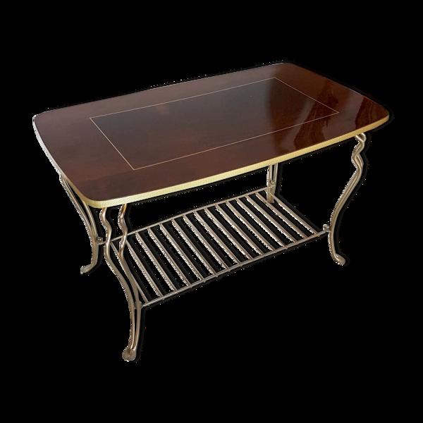 Table basse vintage en bois laqué et métal doré