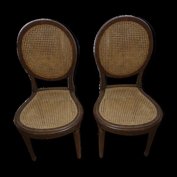 Lot 2 chaises médaillon cannage 19e siècle italie