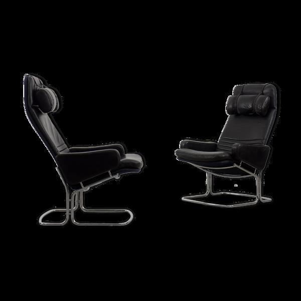 Selency Paire de fauteuils en cuir noir par Ire Möbel années 1970