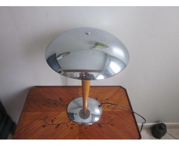 Lampe de bureau en metal chromè et bois