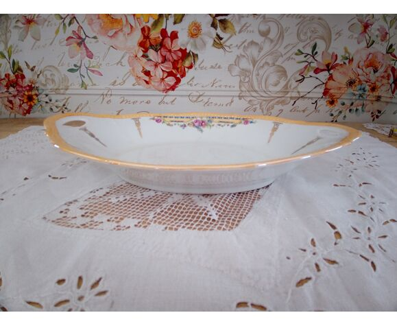 Plat ovale creux, coupe à fruits en porcelaine décor floral liseré orangé 2 anses
