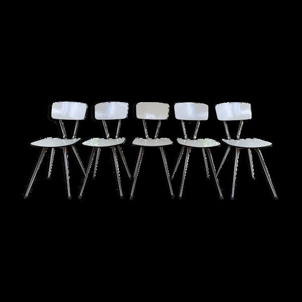 Selency Lot de 5 chaises formica pieds compas tublac