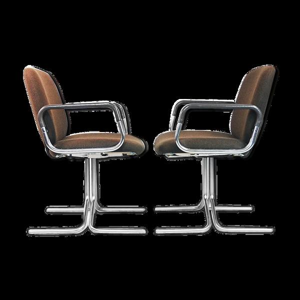 Paire de fauteuils marron en aluminium de Mauser 1970s