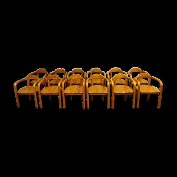 Selency Chaises à manger en bois de pin Rainer Daumiller pour Hirtshals Savvaerk ensemble de 12 1980