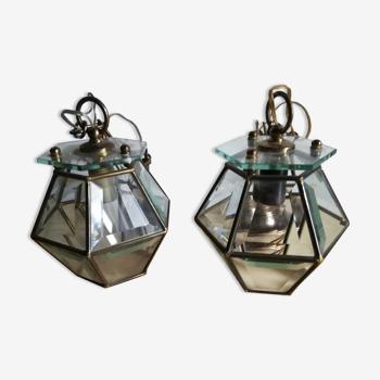 Deux suspensions luminaire biseauté