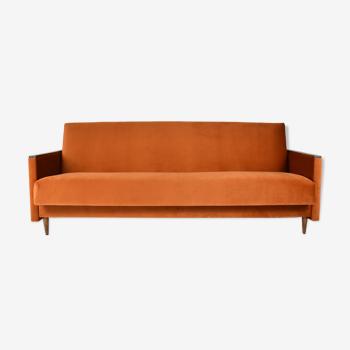 Canapé vintage, canapé convertible, entièrement restauré, années 1960, velours orange roussâtre