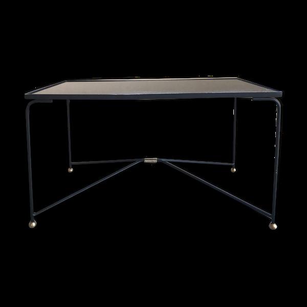 Selency Table basse en verre et métal circa 1950