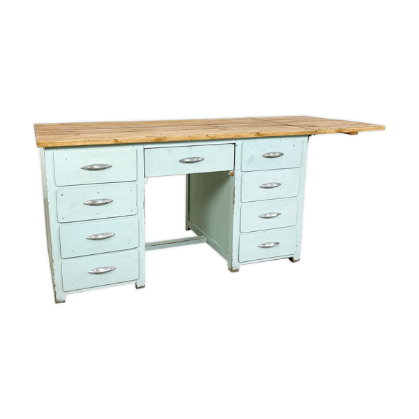 Bureau en bois peint industriel vintage avec plateau en bois