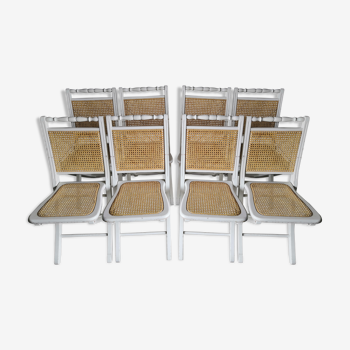 Duo de chaises pliantes bois et cannage vintage années 60/70