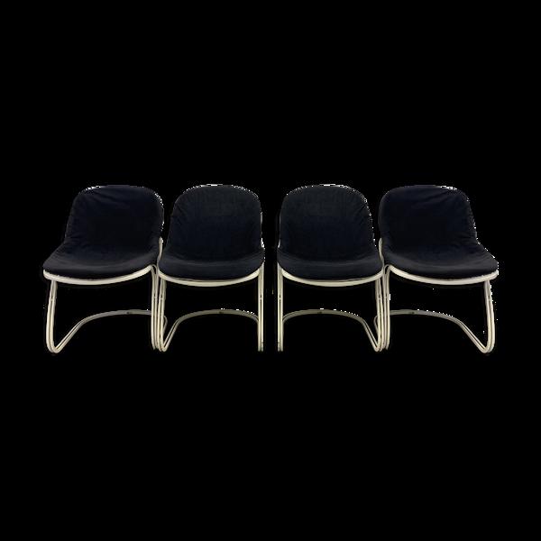 Selency Lot de 4 chaises Sabrina de Gastone Rinaldi éditées par Thema, années 1970