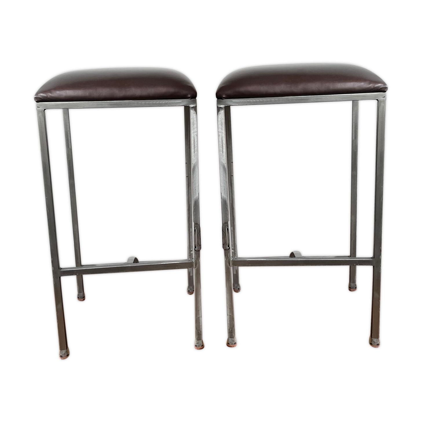 Lot de 2 tabourets acier brossé assise marron glacé - designer chantal peyrat