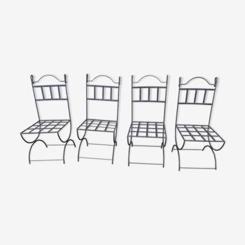 4 chaises en fer forgé jardin vintage