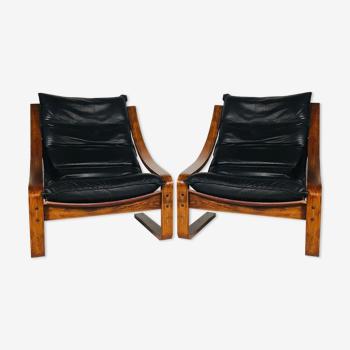 Paire de fauteuils vintage en cuir, Suède 1960's