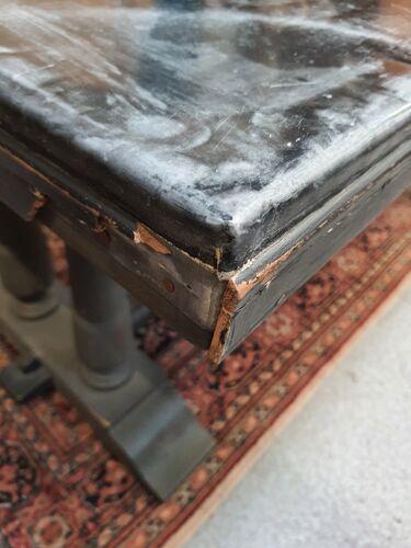 Table de ferme chene et zinc